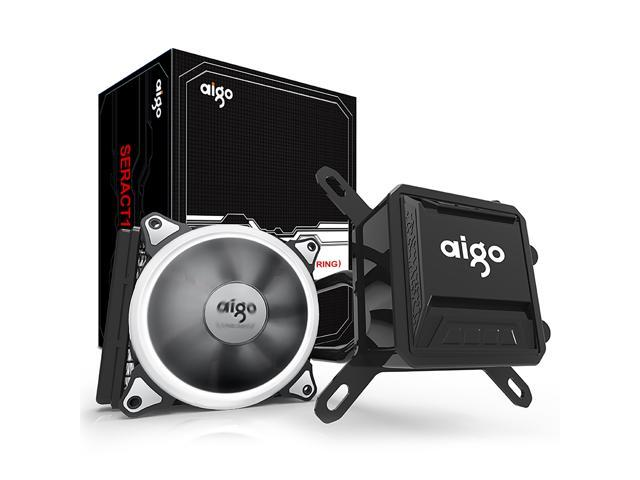 AIGO AigoDIY, Liquid CPU Cooler, 120mm Radiator Quiet Fan Water Cooler Easy Installation All-In-One Liquid CPU Cooler with Led Halo White Lights, INTEL/AMD with AM4 Support (120mm)