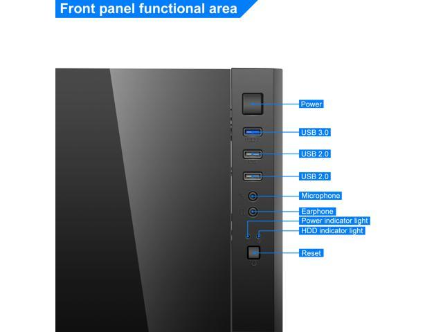 Aigo ATX Mid Tower Acrylic Panel Gaming Computer PC Case Black Desktop Shell USB 3.0 Port (Black Technology)