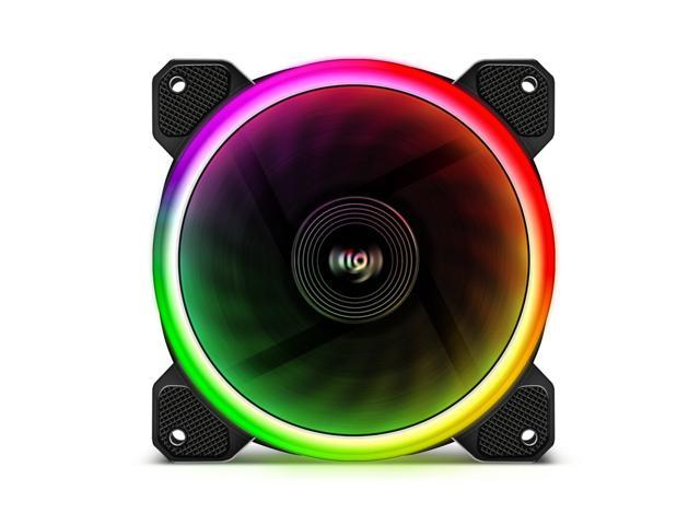 Aigo Aurora DR12 3IN1 Case Fan Kit - 3 RGB LED 120mm High Performance High Airflow Adjustable Colorful Fans with Controller and Remote