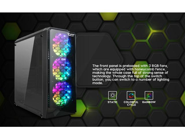 darkFlash Water Square 5 Black ATX Mid-Tower Desktop Computer Gaming Case USB 3.0 Ports Acrylic Windows with 3pcs LED Fans Pre-Installed