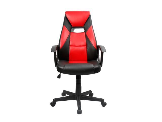 EAMBRITE Racing Office Chair Ergonomic High-Back Computer Gaming Chair PU Leather Bucket Seat (Red/Black)