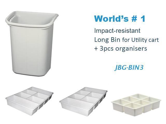 "JaboEquip High impact plastic Long bin 14.57 x 10.24 x H17.76""  for Utility cart and 3 pcs organizers"