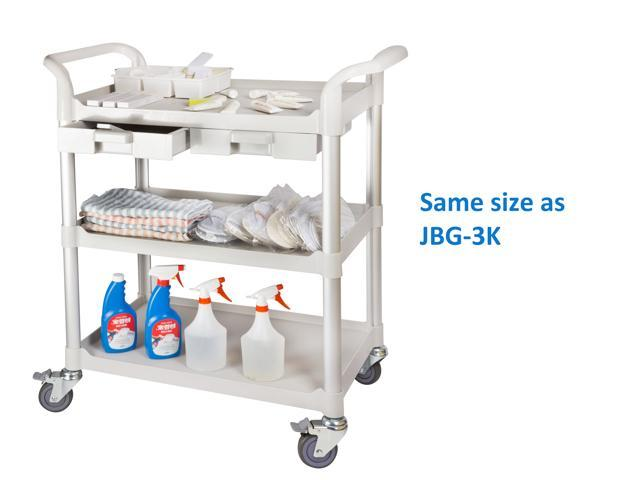 JaboEquip, 3 Shelf Commercial cabinet Hospital cart, Medical cart, Utility cart, Service trolley with cabinet ( light grey color) light weight