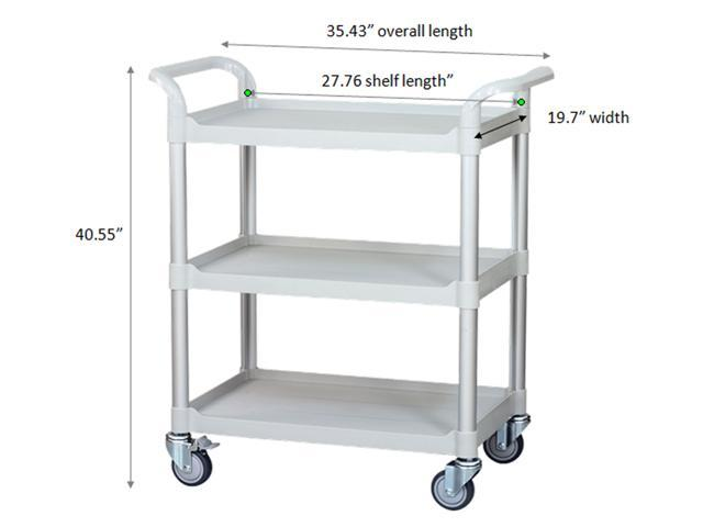JaboEquip, 3 tier large mobile Hospital cart, Utility cart 606lbs load capacity ( light grey color)-SPECIAL DISCOUNT TILL NOV.25-only 2 left