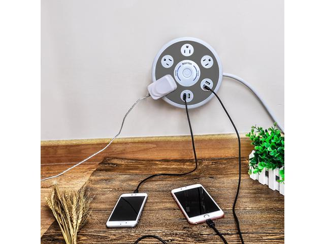 Bestten 4 Outlet Power Station Surge Protector with 4 Port USB Charging, 6ft Heavy Duty Cord, Perfect for Home Office