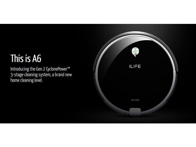 ILIFE A6 Robotic Vacuum Cleaner, Piano Black with Dust Bin