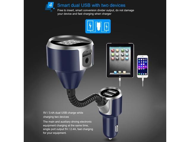 Puluz BC18 handsfree call car charger, Bluetooth FM Transmitter Radio Adapter Car Charger, with 1.4 inch LCD Display, Music Player etc.