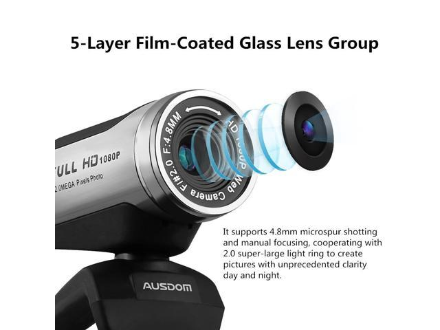 AUSDOM 1080P HD USB Webcam with Built-in Microphone,12.0MP, Auto Exposure, Digital Zoom, Clip-On/Freestanding Network Computer Camera Web Cam