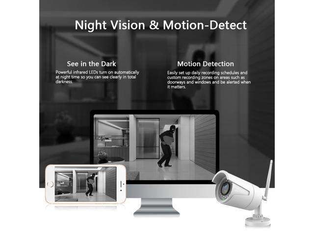 Wireless Home Security IP Camera CCTV 720P Wi-Fi Surviellance Camera Waterproof , Remote Monitor Control Mobile Device, Motion Detect Alarm, night vision