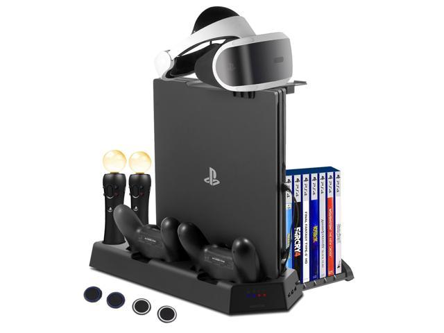FlexDin PlayStation PS4 VR Charging Station, PS4 Slim / PS4 Pro / PS4 Multifunctional Vertical Cooling Stand with Games Storage, Quad Charger Dock for PS3 / PS4 Move Motion Controller & DualShock 4