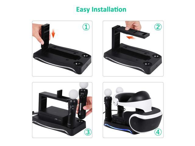 4-in-1 PSVR Charging Display Stand with PlayStation VR Storage Headset Holder, 2 PS Move Controllers Charger Docking Station and Processor Unit Stand
