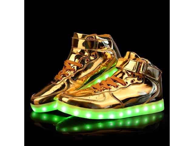 Flashys Gold High Top  LED Adult Shoes