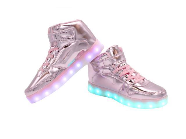 Flashys Metallic Pink High Top  LED Adult Shoes