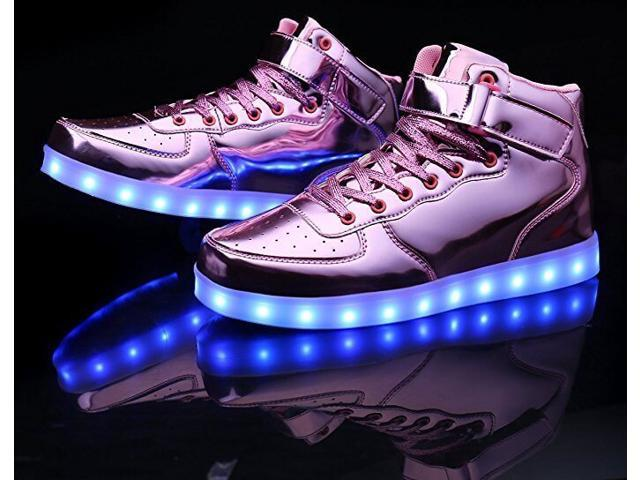 Flashys Metallic Pink High Top  LED Adult Shoes