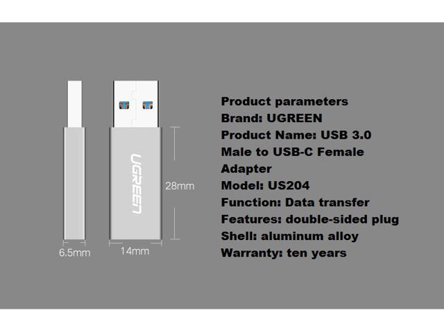 UGREEN USB C Female to USB-A 3.0 Male Adapter, Syntech Female USB-C to USB 3.0 Male, Works with iPhone 8/X Fast Charge Cable, Laptops and Chargers with USB A Interface