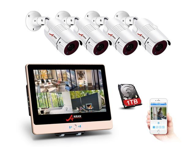 "ANRAN 2MP 1920 x 1080P Full PoE Camera Home Security System with 4 Channel 1080P H.264 PoE NVR 12"" LCD Monitor, 4 x 2MP Onvif IP66 HD Indoor/Outdoor IP Cameras, 1TB HDD Motion Detection"