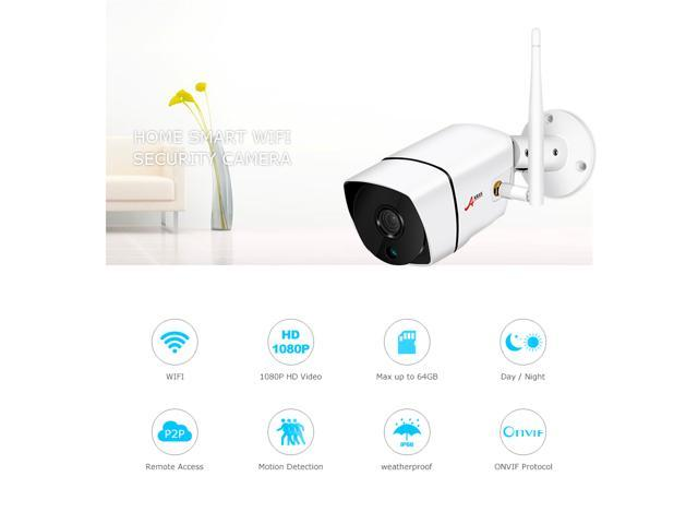 ANRAN 1080P Wifi IP Camera Outdoor Waterproof H.264 HD Night Vision Video Surveillance Security Camera Motion Detection Email Alert Built-in SD Card Slot Max Support 64GB