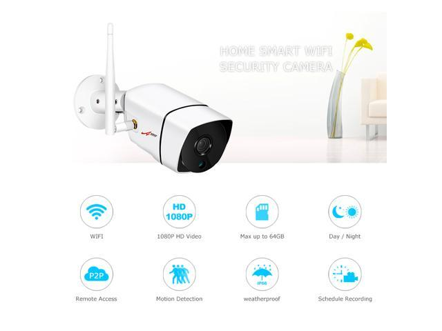 ANRAN 1080P Wifi IP Camera Outdoor Waterproof H.264 HD Night Vision Video Surveillance Security Camera Motion Detection APP Built-in SD Card Slot Max Support 64GB