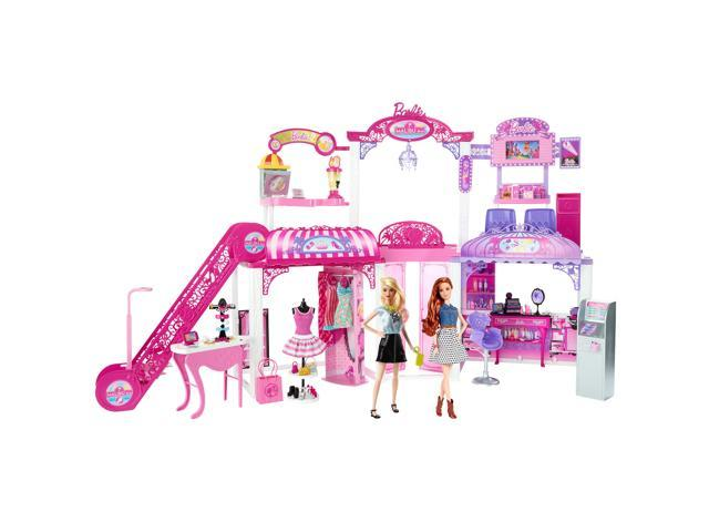 Barbie Malibu Ave 2-Story Mall with 2 Dolls (50+ Pieces, 2' Tall, 4' Wide)