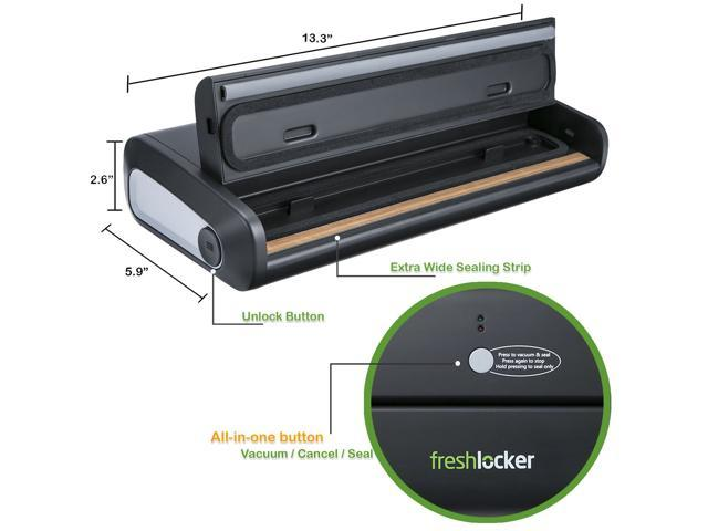 Freshlocker VS90 Vacuum Sealer Machine,1 Button Automatic Vacuum Sealing System with Starter Pack of Saver Roll and Bags for Food Preservation