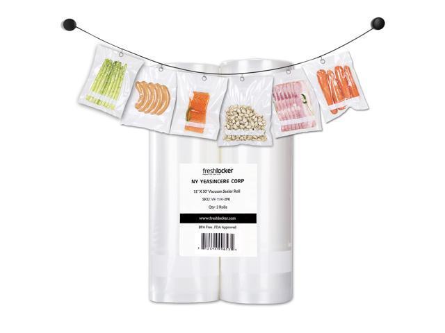 Freshlocker Food Saver Vacuum Sealer FDA-Approved Bags , 4 Mil 2 Roll 11''x50' Commercial Grade Bag Rolls for Foodsaver , Sous Vide