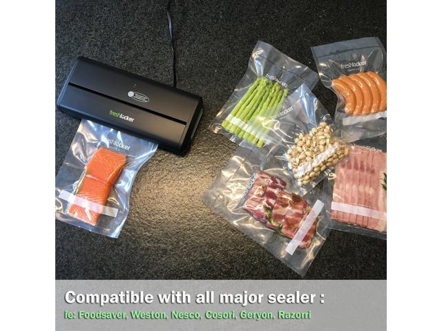 "Freshlocker Food Saver Vacuum Sealer Bags , 4 Mil 1 Roll 8""x50' & 1 Roll 11''x50' Commercial Grade Bag Rolls for Foodsaver , Sous Vide"
