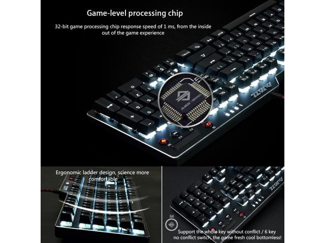 Ajazz AK35i Ergonomic Gaming Keyboard with 104 Full Anti-ghosting Keys+6 Special Keys/White LED Backlit USB Wired Mechanical Keyboard/Blue Switch/ Black, Attached Keyboard Brush and Keycap Puller