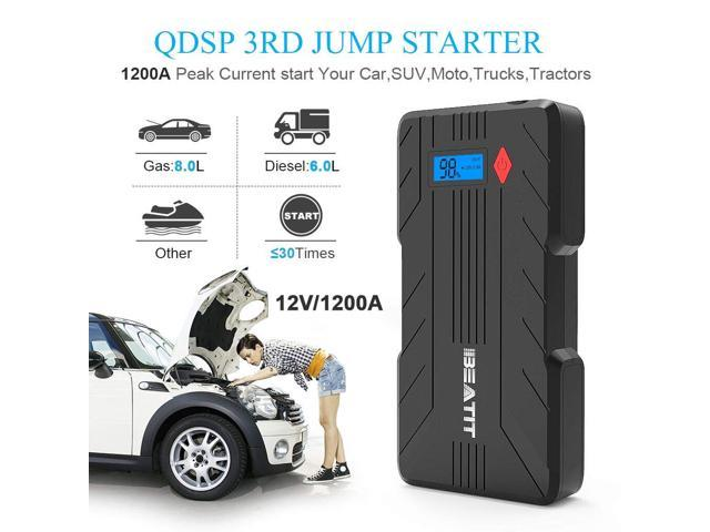 Beatit QDSP 1200A Peak 16500mAh 12V Portable Car Lithium Jump Starter (up to 8.0L Gas and 6.0L Diesel) Battery Booster Phone Charger Power Pack with Smart Jumper Cables
