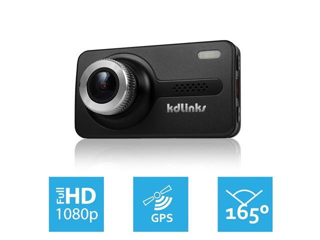 """KDLINKS® X1 Full-HD 1920*1080 165° Wide Angle Car Dashboard Camcorder with GPS, G-Sensor, WDR Superior Quality Night Mode, 6-Glass Lens, 2.7"""" Screen and 8GB Micro SD included"""