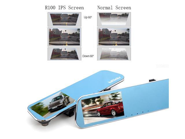 """KDLINKS® R100 Ultra HD 1296P Front + 1080P Rear Super Wide Angle Rearview Mirror Car Dash Cam with IPS HD 5"""" Screen, G-Sensor & Superior Night Mode"""