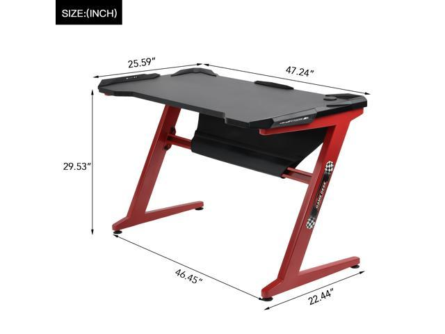 GTRACING Gaming Desk Racing Computer Table with LED Light PC Stand Ergonomic Durable Z-Shaped E-Sports Desk Home Office Workstation GTZ01