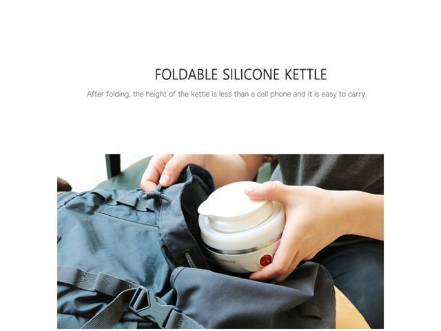 Travel Foldable Electric Kettle- Portable Silicone Collapsible Camping Kettle 110-220V 600ML(White)