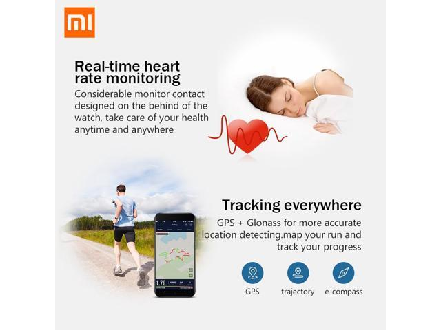 XiaoMi Original AMAZFIT  A1608 Bip Smart Watch GPS GLONASS Bluetooth 4.0 Heart Rate Monitor IP68 Waterproof Android 4.4 IOS 8(Black)