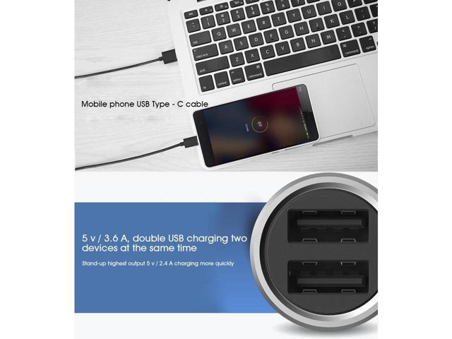 Xiaomi Car Charger Metal Casing Dual USB Ports Fast Charging Universal Car Charger For Xiaomi Samsung iPhone iPad (Silver)