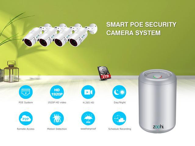 Zoohi POE 4 Channel 5.0MP Cylinder NVR Kit Outdoor 36IR Leds NightVision  Security Camera System Email Alert Motion Dection 1920P HD POE Video Surveillance Kit Pre-install 2TB Hard Disk