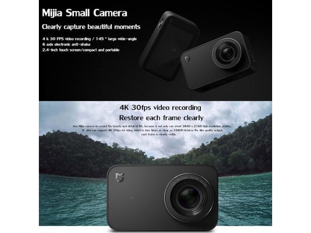 Xiaomi Global Official Version Mijia Small Camera Ultra HD 4K WiFi Action Camera, 145 Degree Wide Angle Lens, Support Bluetooth, (Black)
