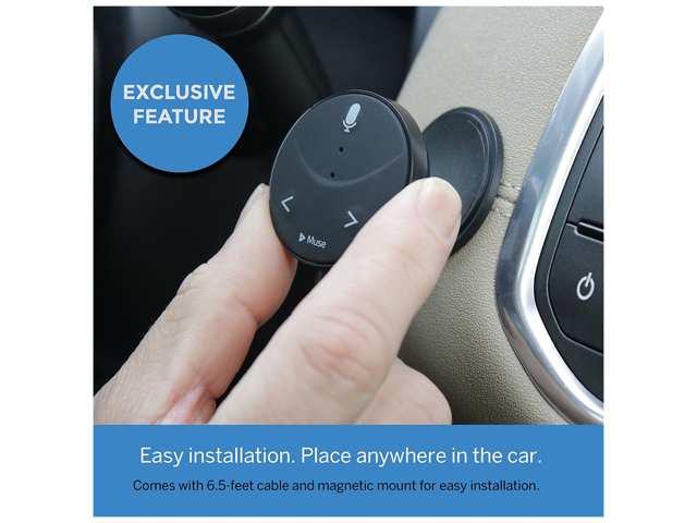 Muse Auto - Alexa Voice Assistant for Vehicles - Dual USB Charger & Mounting Kit with Cable - Black