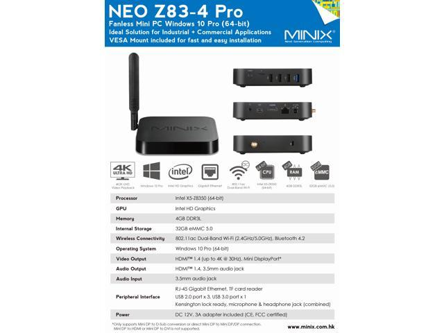 MINIX Z83-4 Pro Intel cherry trail Z8350 fanless home and industrial Mini PC /desktop computer with Windows10 Pro (64-bit) /4GB DDR3L/32GB eMMC/Dual-Band Wi-Fi/Gigabit Ethernet/4K2K UHD video playback