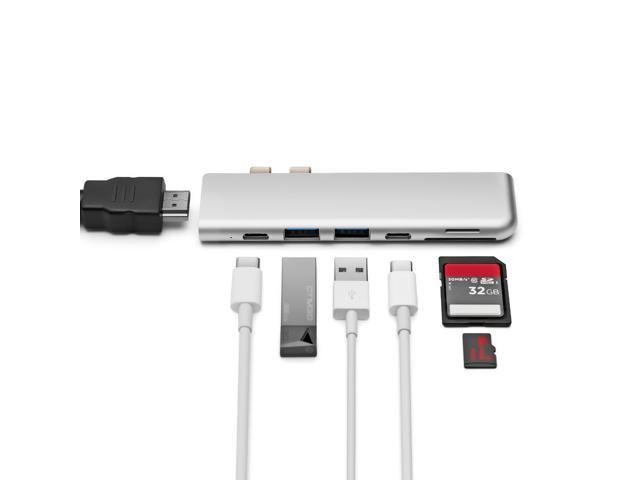 MINIX NEO C-D Aluminum USB-C  Hub Adapter for Macbook Pro /Air ,Best docking, USB C HDMI ,Thunderbolt 5K 40GbS, 4K HDMI, Pass-Through Charging, USB-C Port, 2 USB 3.0, SD/Micro SD Card reader,gray