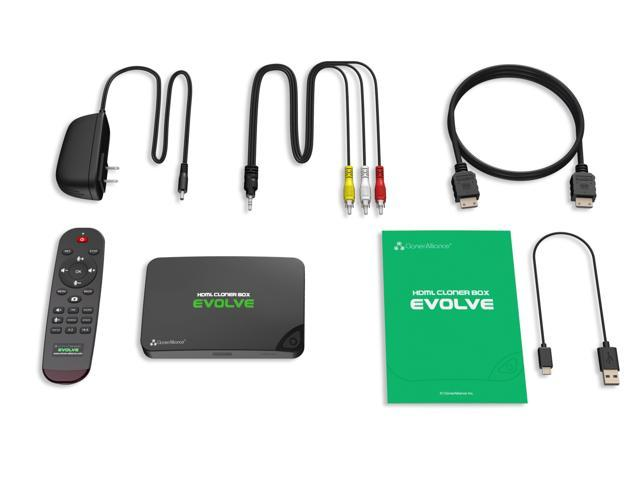 HDML-Cloner Box Evolve, 2 HDMI inputs and 4K video input supported, Capture HDMI videos and games to USB flash drive/TF MicroSD card without PC, Schedule recording, remote control, CEC supported.