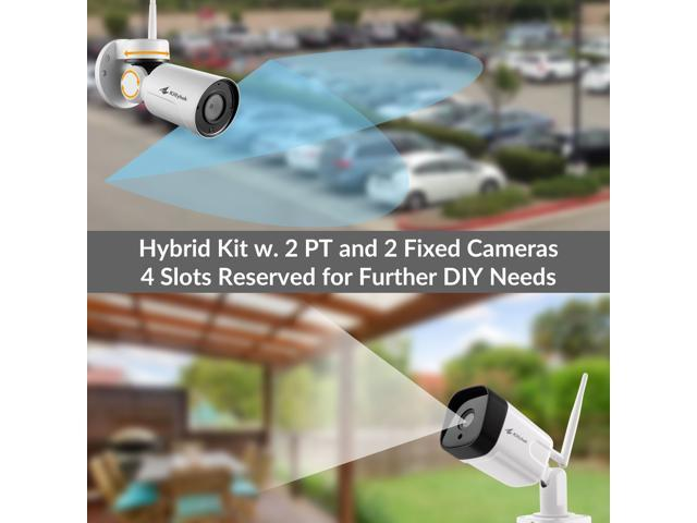 [Built-in Audio] Kittyhok 1080p HD Hybrid Wireless Security Camera System Outdoor 1TB HDD, 8CH H.265 NVR, 2pcs WiFi PT Cams and 2pcs Fixed-Angle Cams, Expandable, Pan Tilt, Easy Mobile View & Playback
