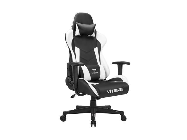 Vitesse Gaming Office Chair Ergonomic Desk Chair High Back Racing Style Computer Chair Swivel Executive Leather Chair With Lumbar Support And Headrest(White)