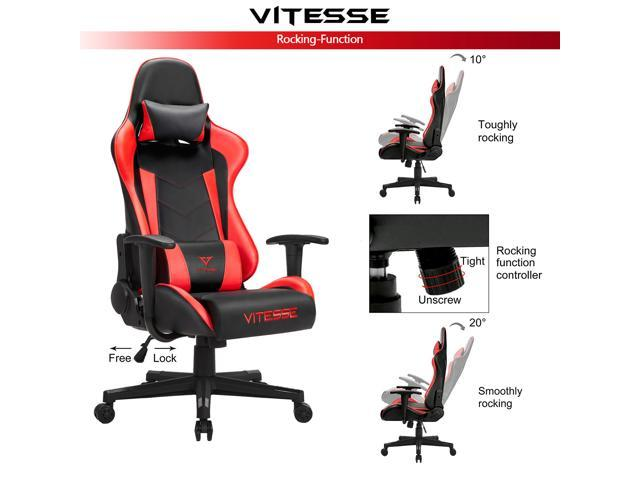 Vitesse Gaming Office Chair with Carbon Fiber Design, High Back Racing Style Seat, Swivel, Lumbar Support and Headrest(Red)
