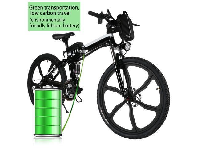 ANCHEER  electric mountain bike with Removable lithium-ion battery,26-inch 21-speed aluminum folding  Cyclocross  Bike