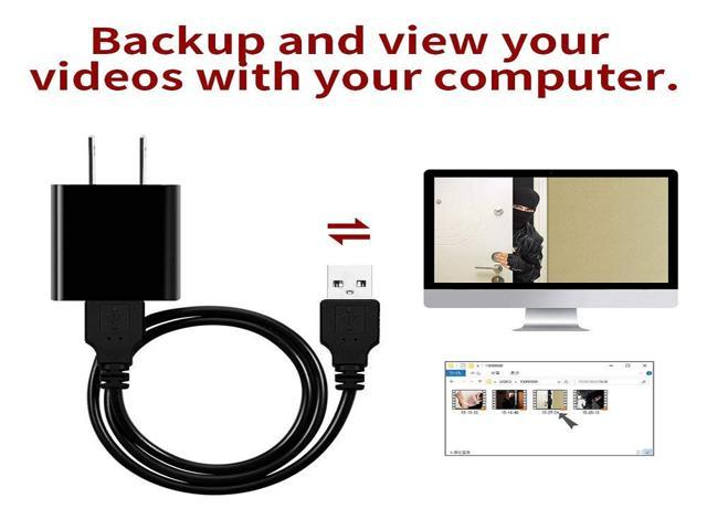 New 1080P WiFi Mini Camera Covered Lens USB Wall Charger Security Cameras Built-in 32GB Memory Card Black