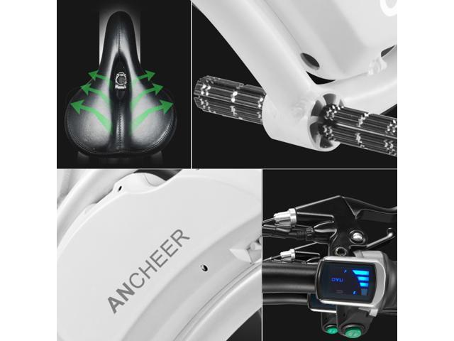 Ancheer Aluminum Folding Portable  Electric Bike 350W APP Speed Setting White