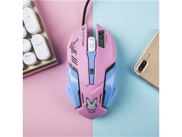 Dobacner D.va Gaming Mouse OW Dva Cosplay USB Gaming Mice Wired Mouse Pink Colour