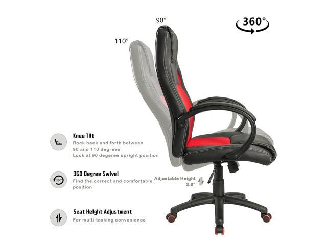 Homall Gaming Office Chair Computer Desk chair lager size cushion Bucket Seat Racing Car Style High Back Executive Swivel PU Leather Mesh  Padded Armrests and Lumbar Support (Red/Black)