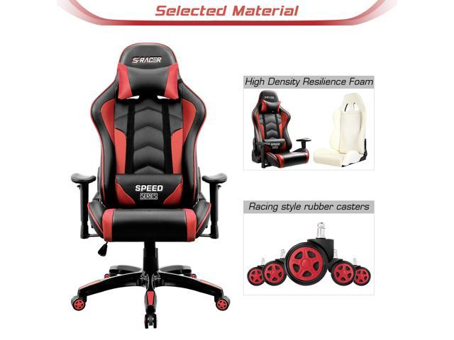 Homall Gaming Chair Thickened High Back And Bucket Seat Carbon Pu Leather Swivel Computer