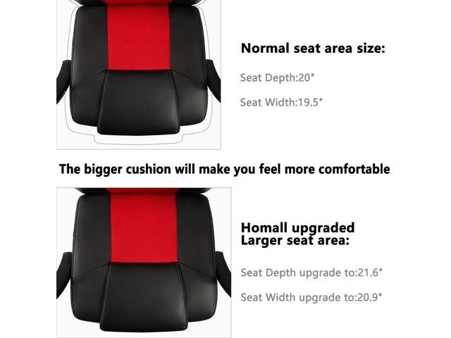 Homall Gaming Office Desk chair with Larger Size Cushion Racing Car Style Seat with High Back, Executive Swivel, PU Leather & Mesh, Lumbar Support Height Adjustment (Red/Black)